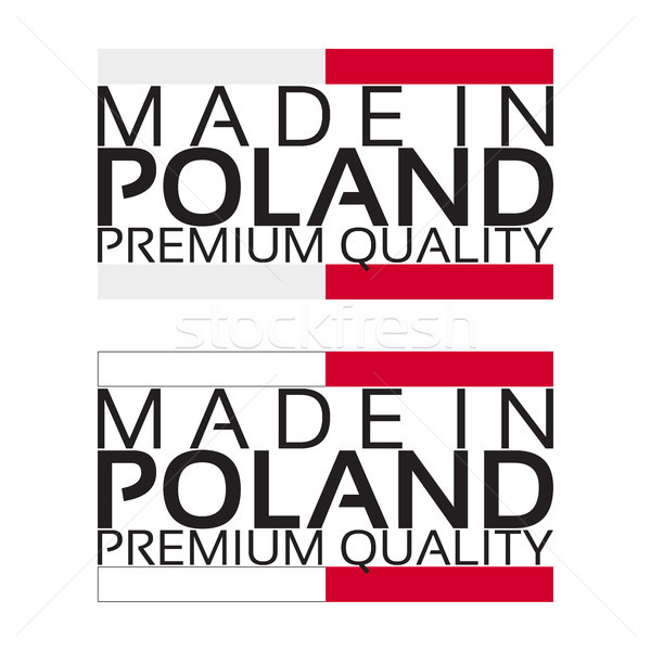 Made in Poland icon, premium quality sticker with Polish colors, vector illustration isolated on whi Stock photo © kurkalukas