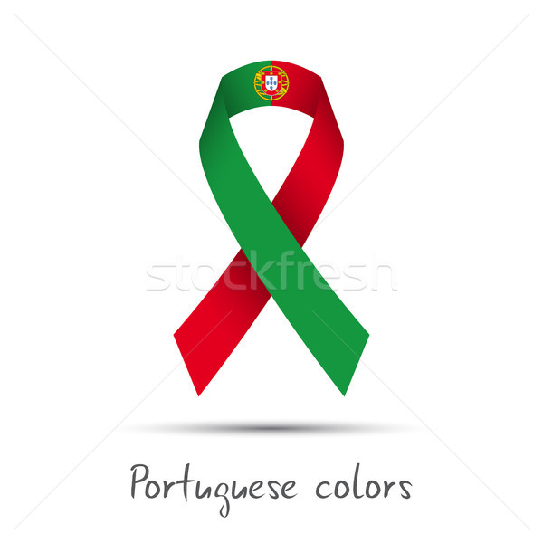 Modern colored vector ribbon with the Portuguese colors isolated on white background, abstract Portu Stock photo © kurkalukas
