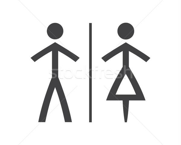 Foto stock: Simples · cinza · branco · banheiro · símbolos · homem