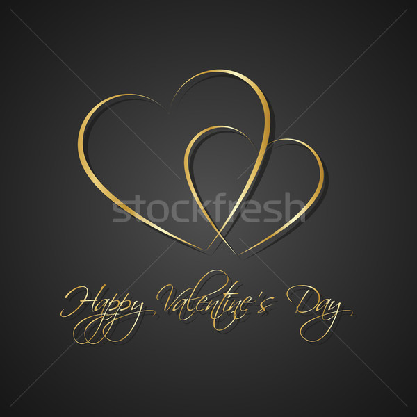 Gold black simple Happy Valentines day card with two heart, Be my Valentine background, vector illus Stock photo © kurkalukas
