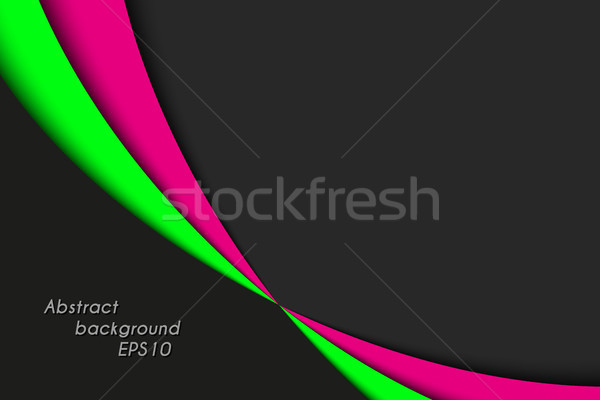 Black, pink and green curves on black background with blank space for your text, vector illustration Stock photo © kurkalukas