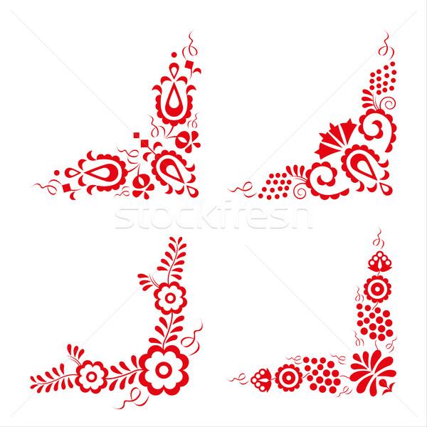 Ayarlamak dört geleneksel süsler dekoratif Stok fotoğraf © kurkalukas
