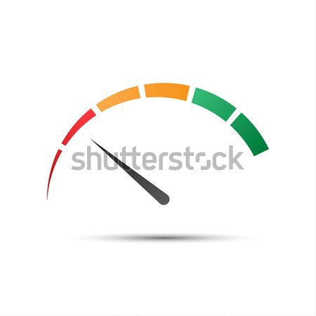 Simple color tachometer with a pointer in the minimum red part,  Stock photo © kurkalukas