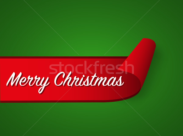 Red curled paper ribbon and Merry Christmas inscription on green background, vector illustration of  Stock photo © kurkalukas