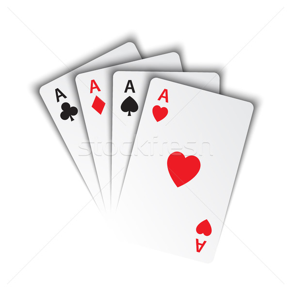 Set of aces, ace of spades, herts, clubs and diamonds, poker cards isolated on white background, vec Stock photo © kurkalukas
