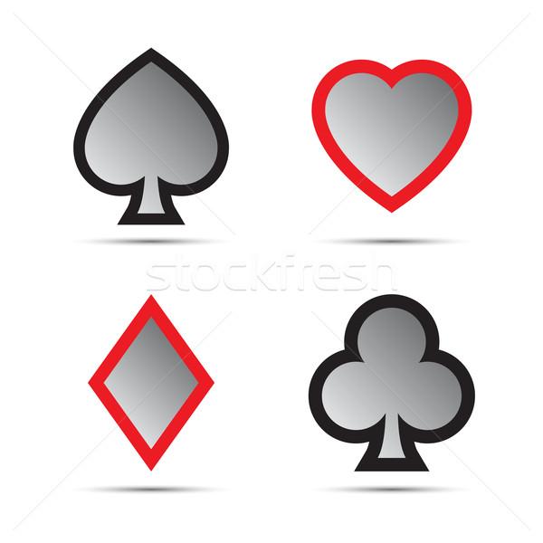 Playing card symbols isolated on white background Stock photo © kurkalukas