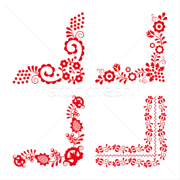 Set of four traditional folk ornaments, red embroidery isolated  Stock photo © kurkalukas