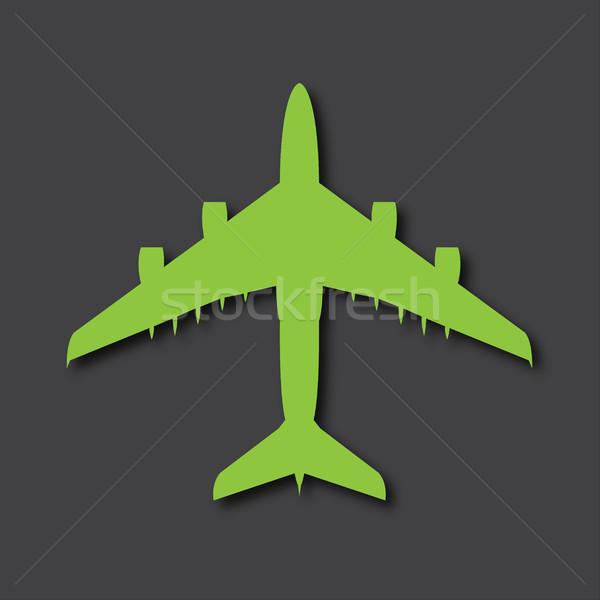 Vector airplane logo, big airliner with drop shadows on gray bac Stock photo © kurkalukas