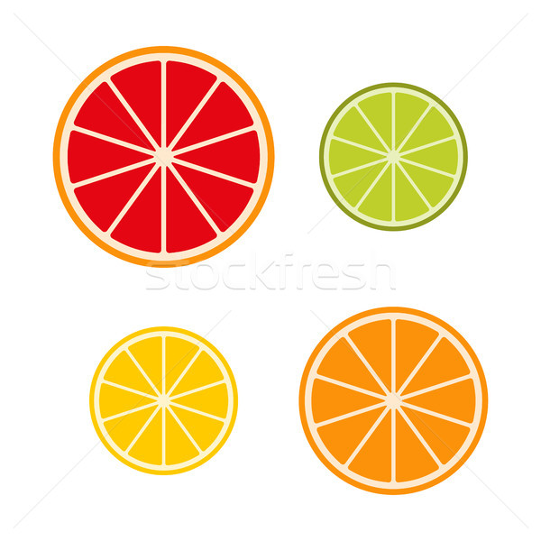 Stock photo: Collection of citrus slices grapefruit, lime, lemon and orange, fruit icon set, vector illustration