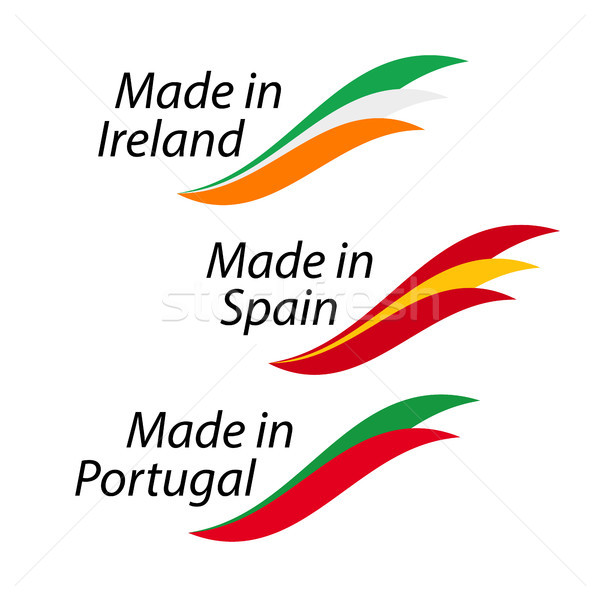Simple logos Irlanda España Portugal vector Foto stock © kurkalukas