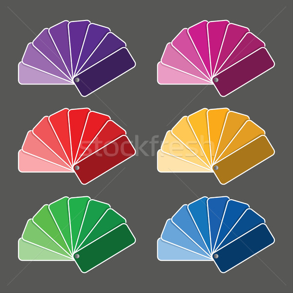 Set of six color palette - purple, pink, red, yellow, green nad  Stock photo © kurkalukas