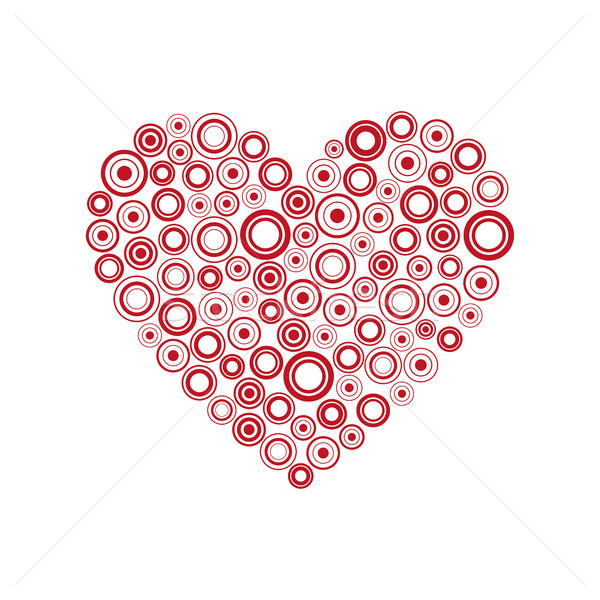 Red heart of the rings, Happy Valentines day card with abstract heart, Be my Valentine background, v Stock photo © kurkalukas