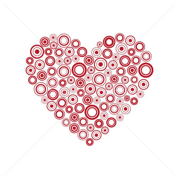 красный сердце кольцами счастливым карт Сток-фото © kurkalukas