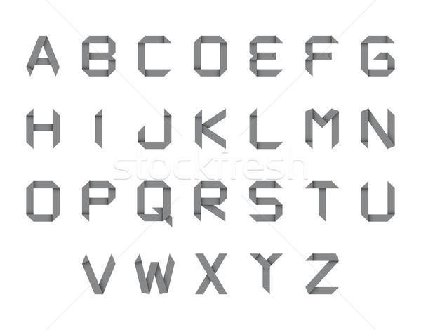 Ingesteld origami alfabet geïsoleerd witte papier Stockfoto © kurkalukas