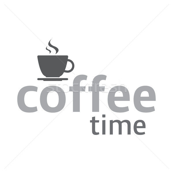 Cup of coffee, coffee time logotype, cup of espresso, vector illustration isolated on white backgrou Stock photo © kurkalukas