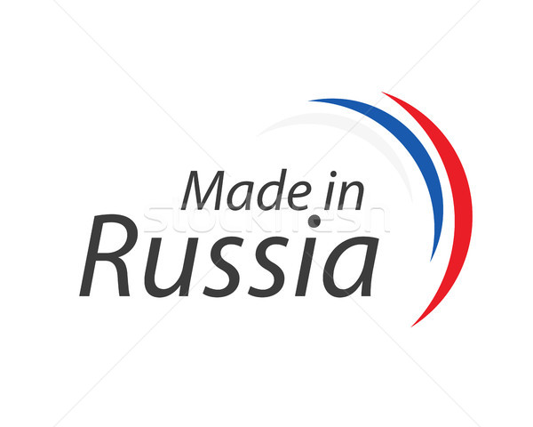 Made in Russia, simple vector symbol with Russian tricolor isolated on white background Stock photo © kurkalukas