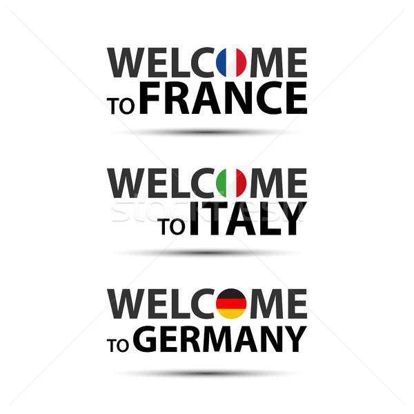 приветствую Франция Италия Германия флагами Сток-фото © kurkalukas