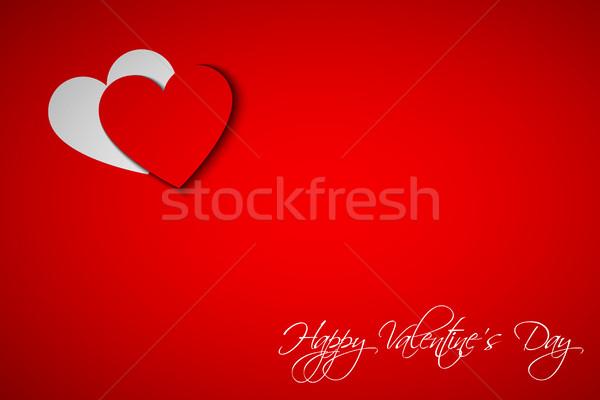 Gelukkig valentijnsdag kaart hart Rood vector Stockfoto © kurkalukas