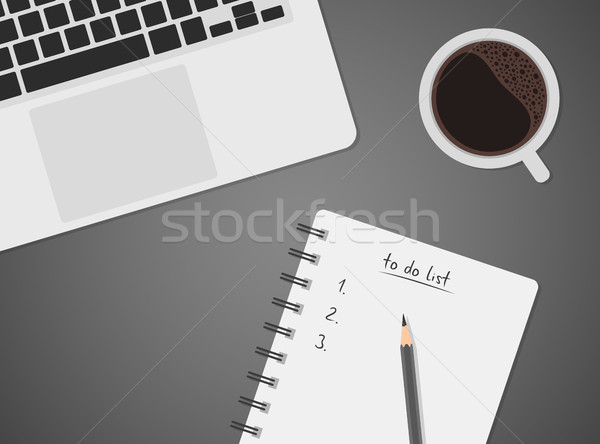 Worktable top view with laptop, coffee and to do list Stock photo © kurkalukas