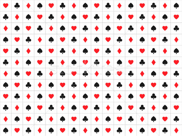 Playing card signs seamless pattern, casino background with dashedlines, hearts, clubs, diamonds and Stock photo © kurkalukas