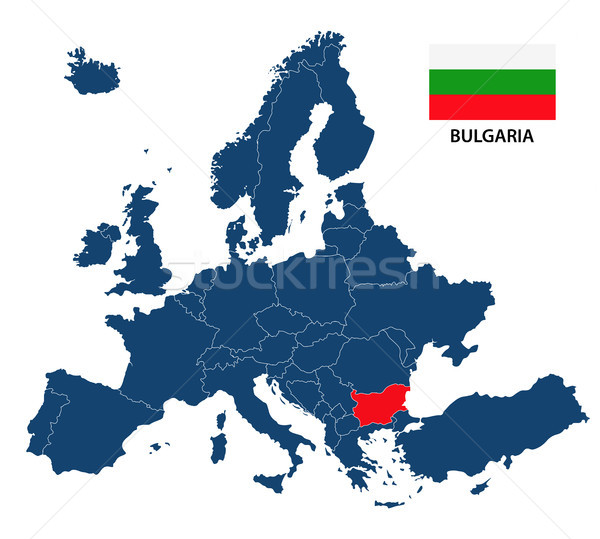 Vector illustration of a map of Europe with highlighted Bulgaria and Bulgarian flag isolated on a wh Stock photo © kurkalukas