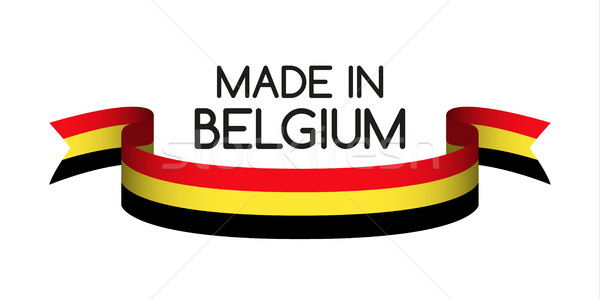 Colored ribbon with the Belgian tricolor, Made in Belgium symbol Stock photo © kurkalukas
