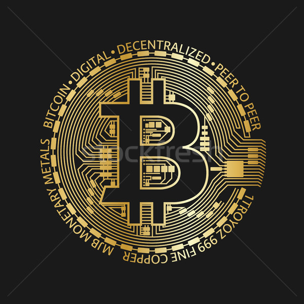 Golden bitcoin coin, vector crypto currency golden symbol isolated on black background, blockchain t Stock photo © kurkalukas