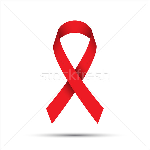 Vörös szalag izolált fehér AIDS tudatosság ikon Stock fotó © kurkalukas