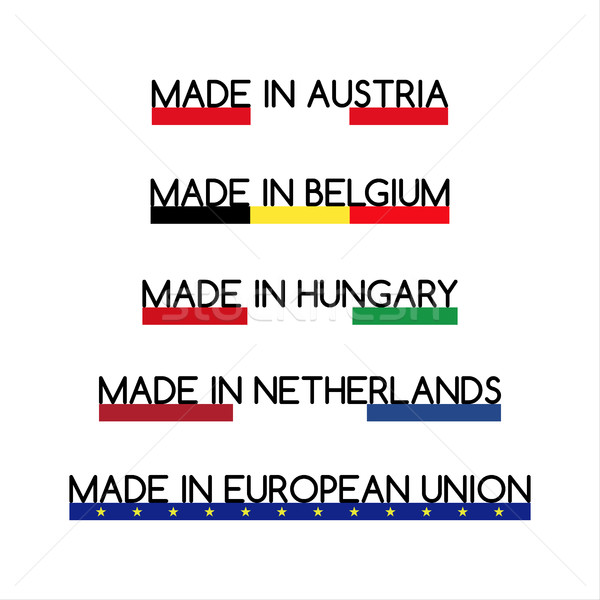 Simple vector logos Made in Austria, Made in Belgium, Made in Hungary, Made in Netherlands and Made  Stock photo © kurkalukas