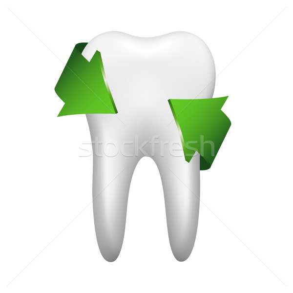 White tooth with two green arrow, stomatology icon isolated on w Stock photo © kurkalukas