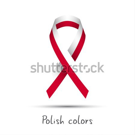 Stock photo: Modern colored vector ribbon with the Polish colors isolated on white background, abstract Polish fl
