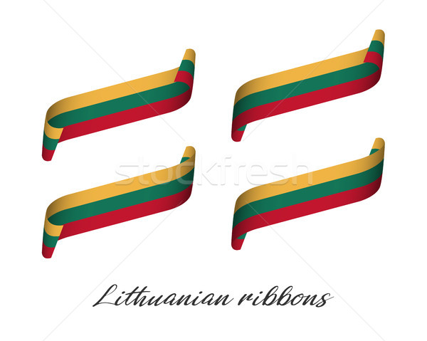 Set of four modern colored vector ribbons with Lithuanian tricolor isolated on white background, fla Stock photo © kurkalukas