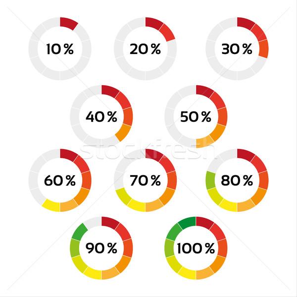 Szett tíz szín százalék izolált fehér Stock fotó © kurkalukas