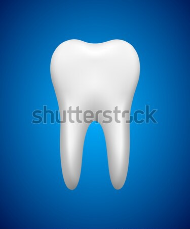 White tooth on blue background, stomatology icon, realistic vect Stock photo © kurkalukas