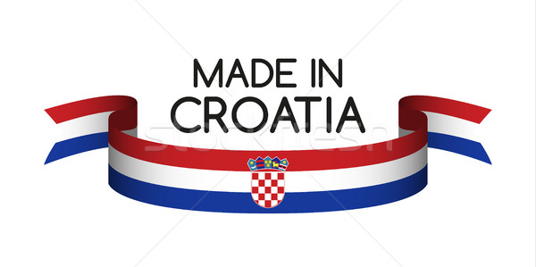 Colored ribbon with the Croatian tricolor, Made in Croatia symbo Stock photo © kurkalukas