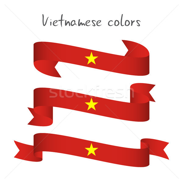 Set of three modern colored vector ribbon with the Vietnamese colors isolated on white background, a Stock photo © kurkalukas