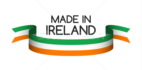 Colored ribbon with the Irish tricolor, Made in Ireland symbol,  Stock photo © kurkalukas