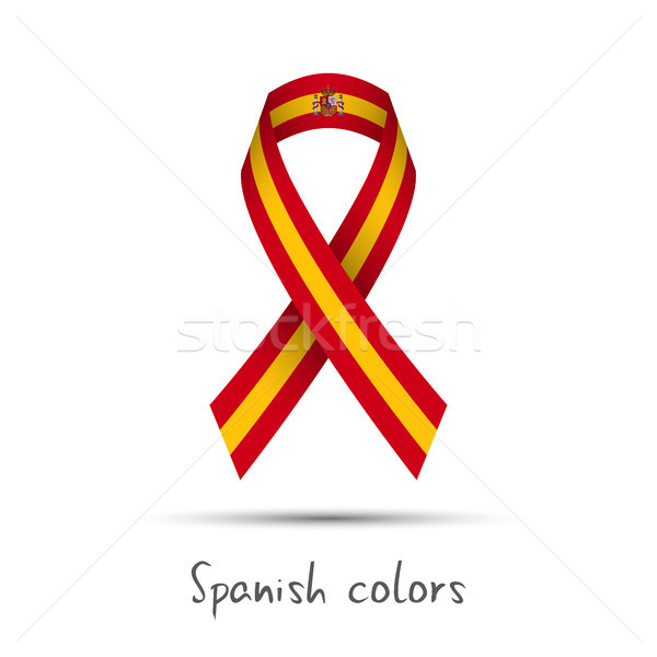 Stock photo: Modern colored vector ribbon with the Spanish colors isolated on white background, abstract Spanish