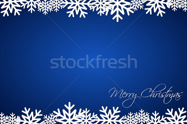 Christmas blue background lined snowflakes, simple holiday card, Merry Christmas Stock photo © kurkalukas