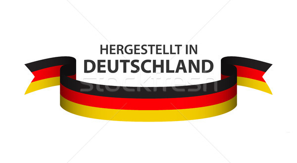 Made in Germany, In German - Hergestellt in Deutschland, colored ribbon with the German tricolor iso Stock photo © kurkalukas