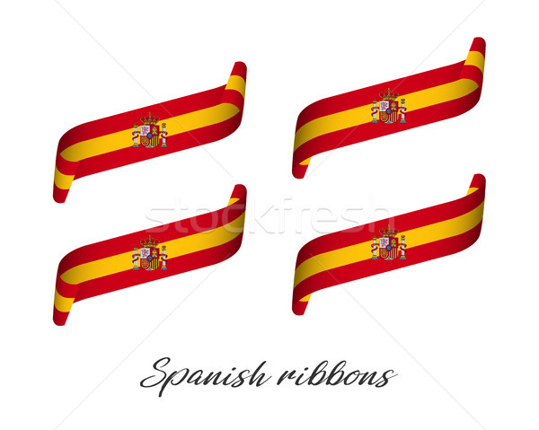 Stock photo: Set of four modern colored vector ribbons in Spanish colors isolated on white background, flag of Sp