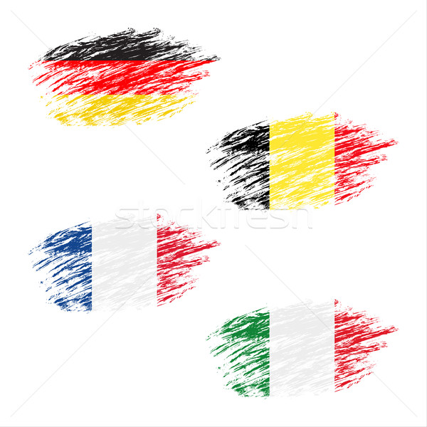 The Belgian, German, French and Italian flag in apperance streaks, set grunge flags, vector illustra Stock photo © kurkalukas