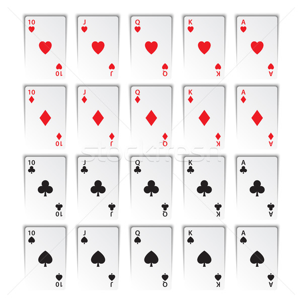 Set of royal flushes isolated on white background, hearts, clubs, diamonds and spades, casino playin Stock photo © kurkalukas