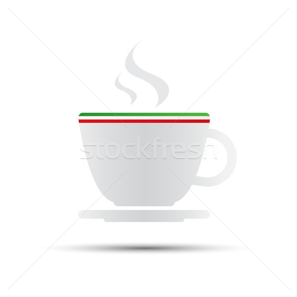 Simple vector coffee icon with italian flag isolated on white background Stock photo © kurkalukas