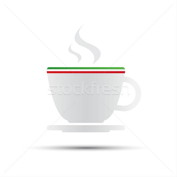 простой вектора кофе икона итальянский флаг изолированный Сток-фото © kurkalukas