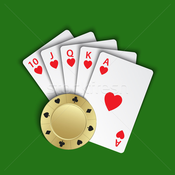 A royal flush of hearts with gold poker chip on green background, winning hands of poker cards, casi Stock photo © kurkalukas