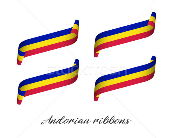 Set of four modern colored vector ribbons with Andorian tricolor isolated on white background, flag  Stock photo © kurkalukas