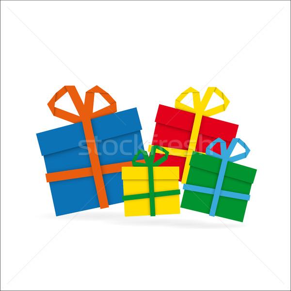 Ayarlamak renkli kâğıt hediyeler beyaz neşeli Stok fotoğraf © kurkalukas