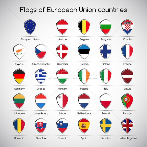 Foto d'archivio: Set · bandiere · unione · paesi · simbolo