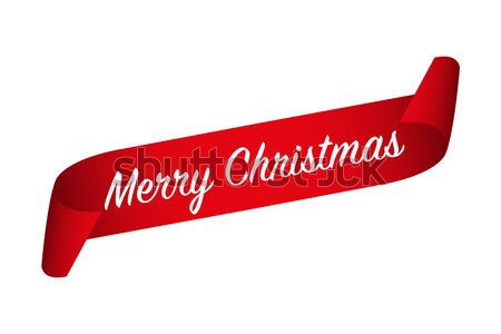 Red curled paper ribbon and Merry Christmas inscription isolated on a white background, vector illus Stock photo © kurkalukas